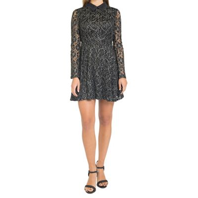 Black lace skater dress with collar