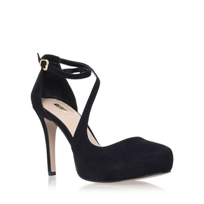 Black 'Antler' high heel strap detail court shoes