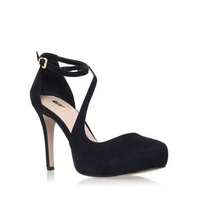Black 'Antler' high heel strap detail court shoes