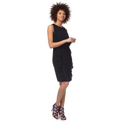 Black front ruffle midi dress