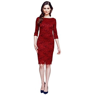 Red long sleeved lace dress with Thin Heat