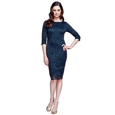 Bottle green long sleeved lace dress with ThinHeat