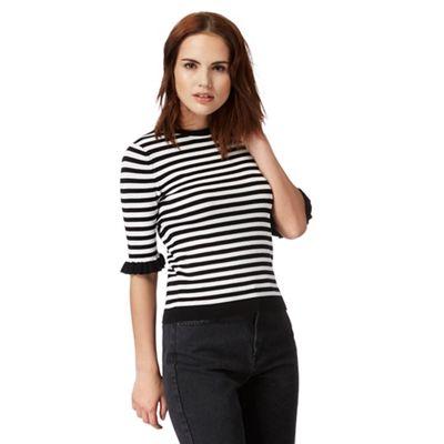 Black and white stripe ruffle sleeve top