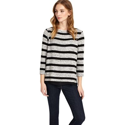 Black and grey rae stripe top