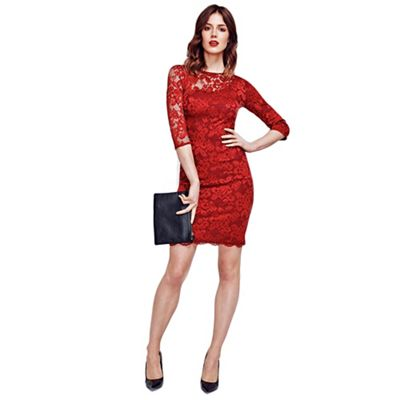Red One-Sleeved Thermal Lace Dress in Clever Fabric