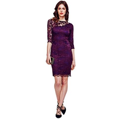 Purple One-Sleeved Thermal Lace Dress in Clever Fabric