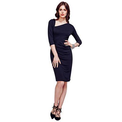 Black Asymmetric Neckline Jersey Dress in Clever Fabric
