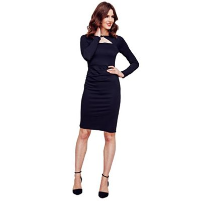 Black Mock Cardi Jersey Dress in Clever Fabric