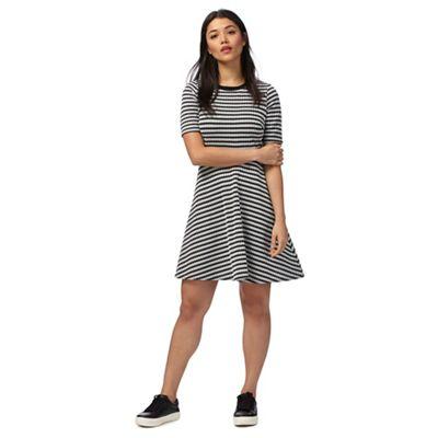 Black and white jacquard skater dress