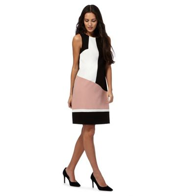 Black colour block plus size shift dress