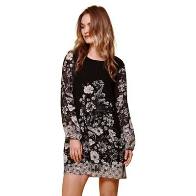 Black floral border shift dress