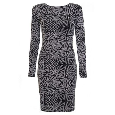 Black And Silver Glitter Print Long Sleeve Dress