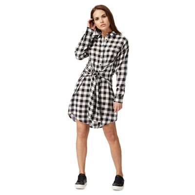 Black and white checked shirt dress