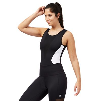 Black and white sleeveless bodysuit