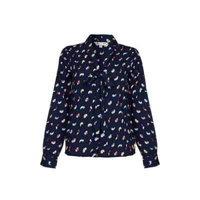 Blue Bird Printed Pussy Bow Blouse