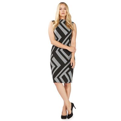 Black graphic print midi dress