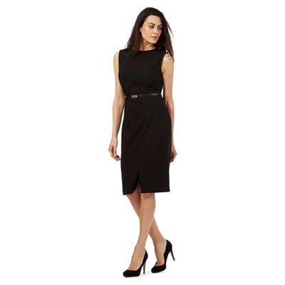 Black belted suit dress