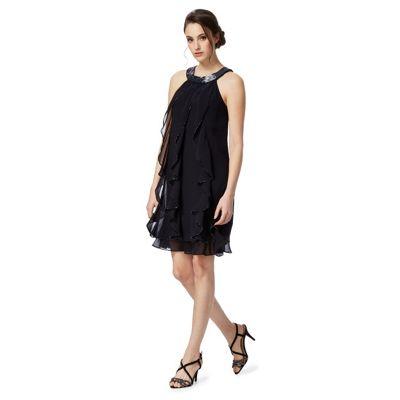 Navy ruffled stone embellished plus size dress