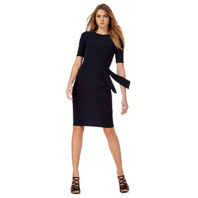 Navy short sleeve ruched jersey dress