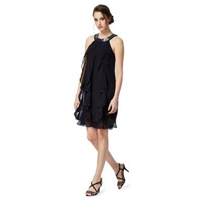 Navy ruffled stone embellished dress