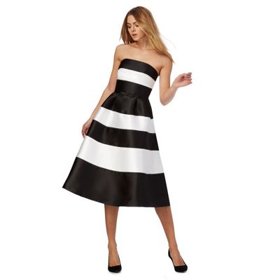Black and white bandeau plus size prom dress