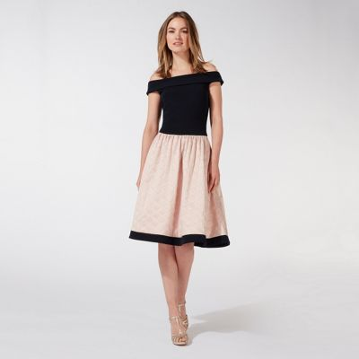 Navy jacquard off the shoulder plus size prom dress