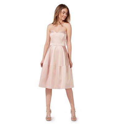 Light pink sateen bandeau prom dress