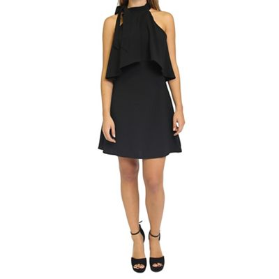 Black frill layer dress with bow neck detail