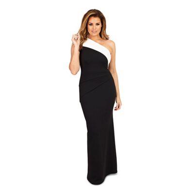 Monochrome 'Dixie' one shoulder maxi dress