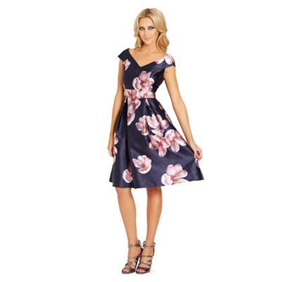 Floral 'Rose' sateen pleated prom dress
