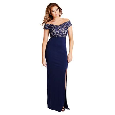 Navy 'Tori' lace bust off the shoulder maxi dress