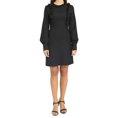 Black high neck tea dress with frill