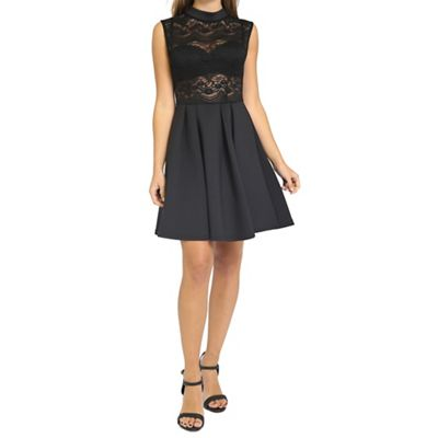 Black lace body dress with structured skirt