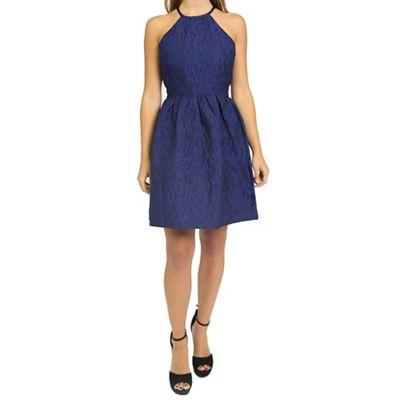 Blue jacquard racer neck skater dress