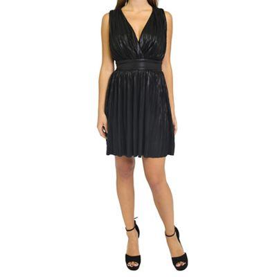 Black pleated grecian mini dress