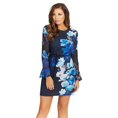 Blue 'Regina' floral print shift dress
