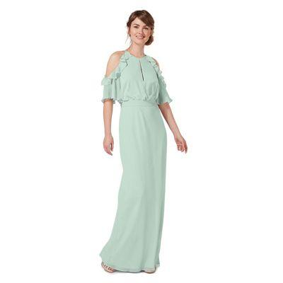 Pale green 'Rosanna' cold shoulder evening dress