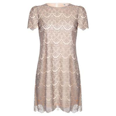 Grey lace detail dress