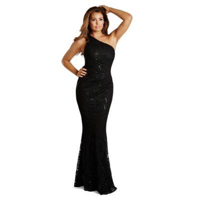 Black 'Alison' sequin lace one shoulder maxi dress