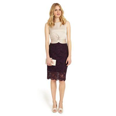 Champagne and dark garnet coralie lace dress