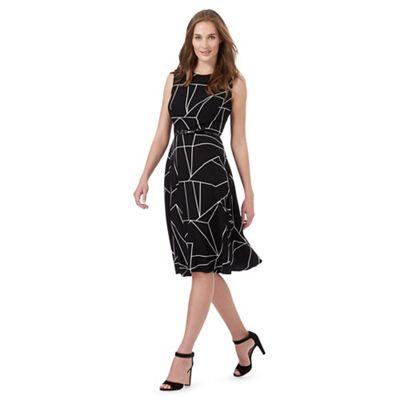 Black geometric line print prom dress