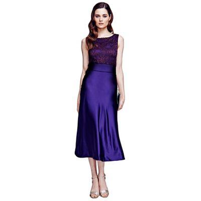 Long purple silk midi dress with lace top