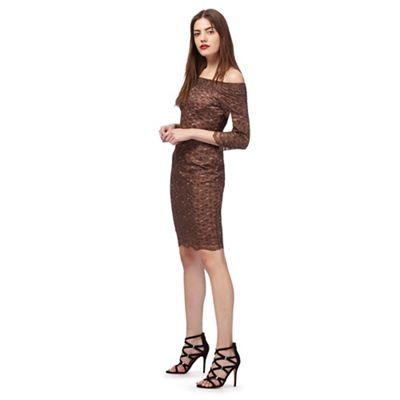 Bronze floral lace dress