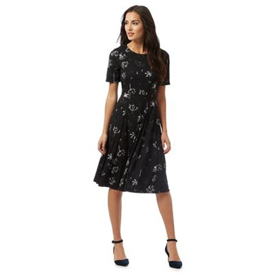Black dandelion print dress