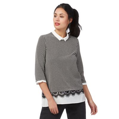 Black textured spotted layered top