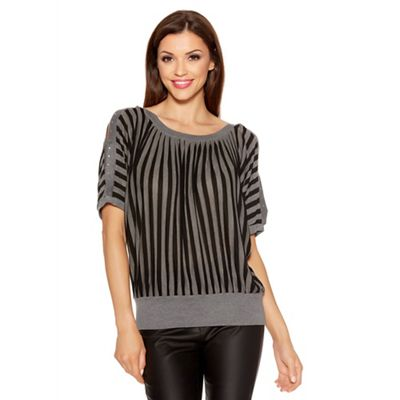 Black And Grey Stripe Batwing Top
