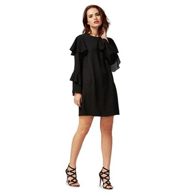 Black dot print capped sleeve dress