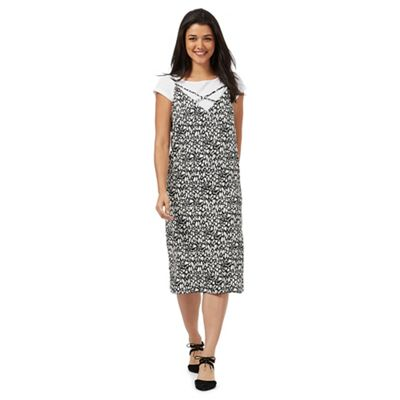 Black and white animal print slip midi dress