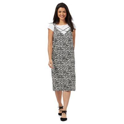 Black and white animal print slip midi dress