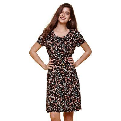 Black floral printed day dress